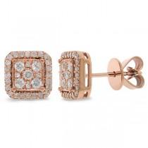 0.47ct 14k Rose Gold Diamond Square Stud Earrings