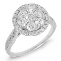 1.05ct 14k White Gold Diamond Cluster Lady's Ring