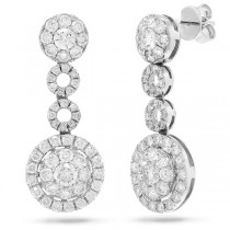 2.77ct 14k White Gold Diamond Round Invisible Earrings