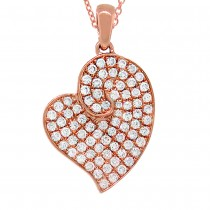 0.42ct 14k Rose Gold Diamond Heart Pendant Necklace