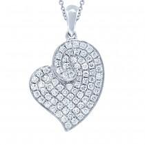 0.42ct 14k White Gold Diamond Heart Pendant Necklace