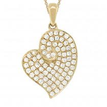 0.42ct 14k Yellow Gold Diamond Heart Pendant Necklace