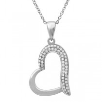 0.13ct 14k White Gold Diamond Heart Pendant Necklace