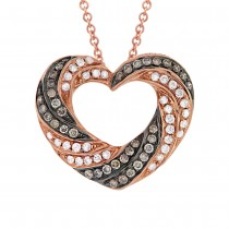 0.38ct 14k Rose Gold White & Champagne Diamond Heart Pendant Necklace