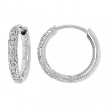 0.29ct 14k White Gold Diamond Huggie Earrings