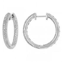 0.93ct 14k White Gold Diamond Hoop Earrings