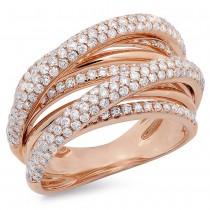 1.75ct 14k Rose Gold Diamond Bridge Ring Size 6.5