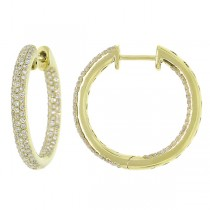 0.93ct 14k Yellow Gold Diamond Hoop Earrings