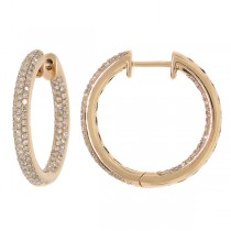 0.93ct 14k Rose Gold Diamond Hoop Earrings