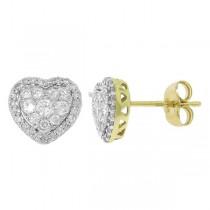 0.41ct 14k Two-tone Gold Diamond Heart Stud Earrings