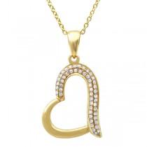 0.13ct 14k Yellow Gold Diamond Heart Pendant Necklace