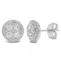 0.58ct 14k White Gold Diamond Cluster Stud Earrings