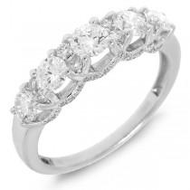 1.08ct 14k White Gold Diamond Lady's 5 Stone Ring