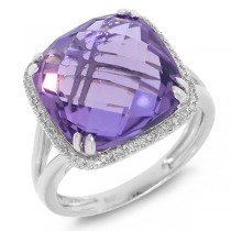 0.12ct Diamond & 8.28ct Amethyst 14k White Gold Ring