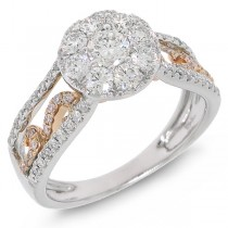 1.07ct 14k Two-tone Rose Gold Diamond Lady's Ring