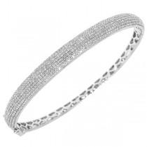 1.54ct 14k White Gold Diamond Pave Bangle