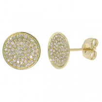 0.31ct 14k Yellow Gold Diamond Pave Stud Earrings
