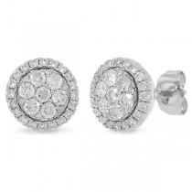 0.82ct 14k White Gold Diamond Cluster Earrings