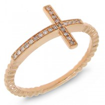 0.08ct 14k Rose Gold Diamond Cross Ring