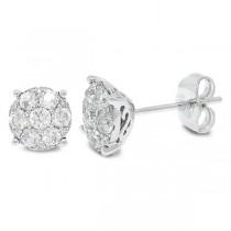 0.67ct 14k White Gold Diamond Cluster Stud Earrings