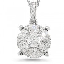 0.87ct 14k White Gold Diamond Cluster Pendant Necklace
