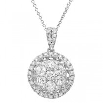 1.17ct 14k White Gold Diamond Cluster Pendant Necklace