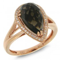 0.11ct Diamond & Smokey Quartz 14k Rose Gold Ring