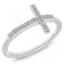 0.08ct 14k White Gold Diamond Cross Ring