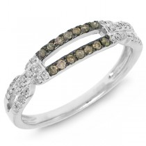 0.23ct 14k White Gold White & Champagne Diamond Lady's Ring