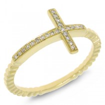 0.08ct 14k Yellow Gold Diamond Cross Ring