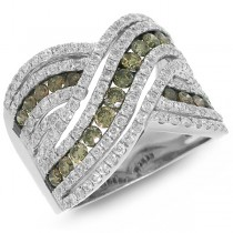 2.00ct 14k White Gold White & Champagne Diamond Lady's Ring