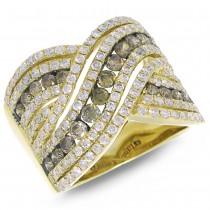 2.00ct 14k Yellow Gold White & Champagne Diamond Lady's Ring Size 8
