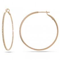 0.69ct 14k Rose Gold Diamond Hoop Earrings