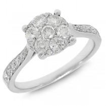 0.79ct 14k White Gold Diamond Cluster Lady's Ring