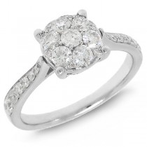 0.80ct 14k White Gold Diamond Cluster Lady's Ring