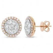 1.62ct 14k Two-tone Rose Gold Diamond Cluster Earrings