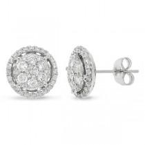 1.12ct 14k White Gold Diamond Cluster Earrings