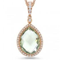 0.17ct Diamond & 4.60ct Green Amethyst 14k Rose Gold Pendant Necklace