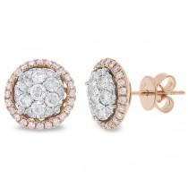 1.12ct 14k Two-tone Rose Gold Diamond Cluster Earrings