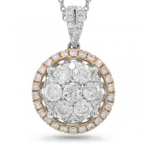 1.17ct 14k Two-tone Rose Gold Diamond Cluster Pendant Necklace