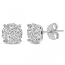 0.70ct 14k White Gold Diamond Cluster Stud Earrings