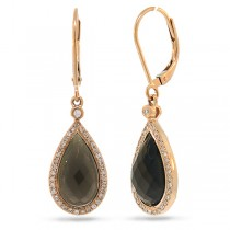 0.22ct Diamond & 5.55ct Smokey Quartz 14k Rose Gold Earrings