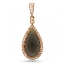 0.16ct Diamond & 3.50ct Smokey Quartz 14k Rose Gold Pendant Necklace