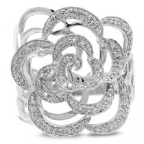 0.23ct 14k White Gold Diamond Flower Ring