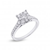 0.83ct 14k White Gold Diamond Lady's Ring Size 8.5