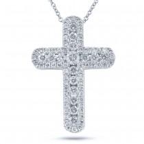 0.97ct 14k White Gold Diamond Cross Pendant Necklace