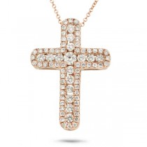 0.97ct 14k Rose Gold Diamond Cross Pendant Necklace