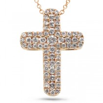 0.48ct 14k Rose Gold Diamond Cross Pendant Necklace