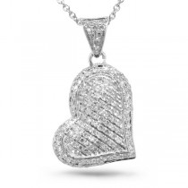 0.28ct 14k White Gold Diamond Pave Heart Pendant Necklace