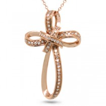 0.13ct 14k Rose Gold Diamond Cross Pendant Necklace